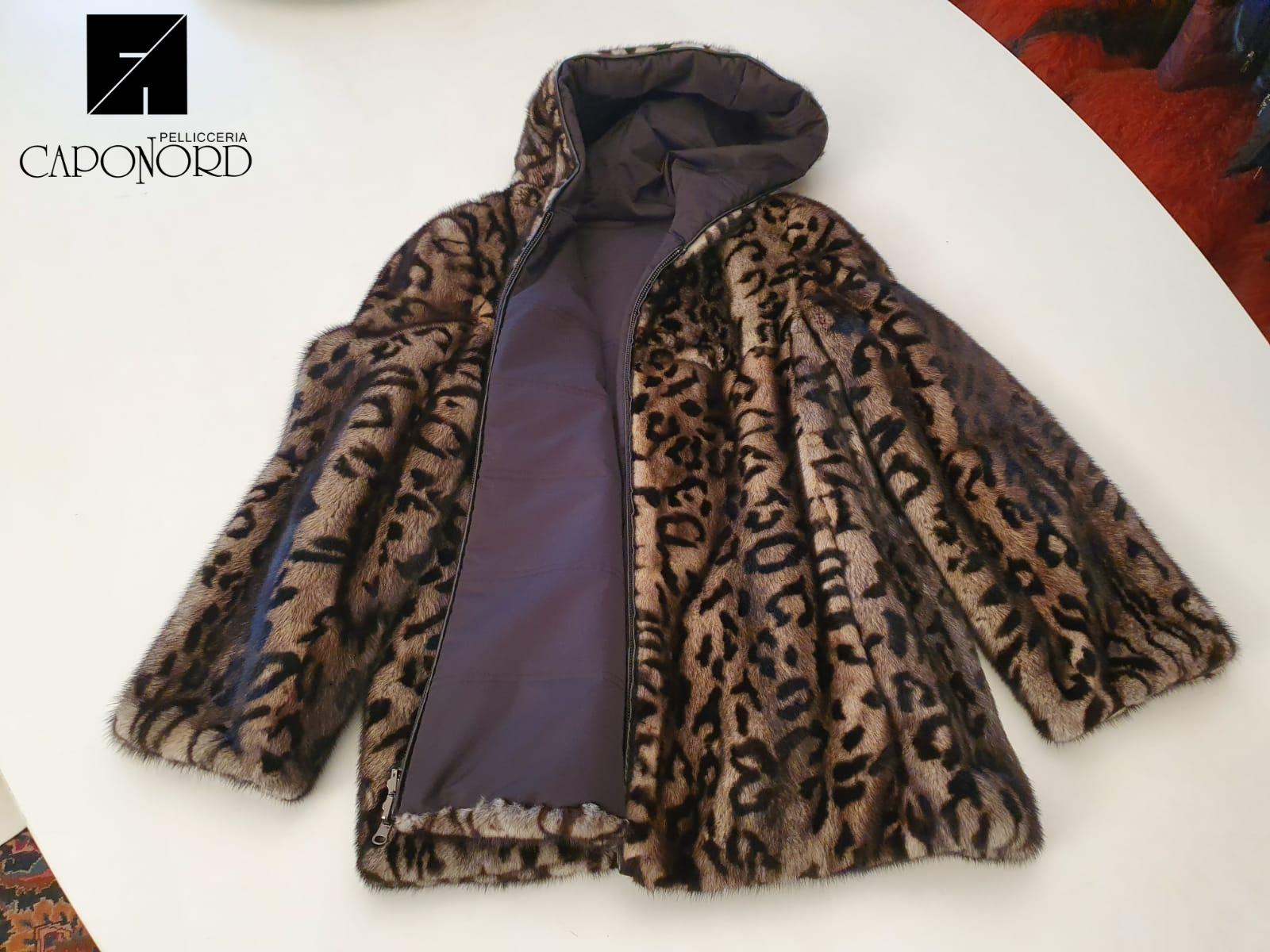 Giacca visone stampato leopardo reversibile