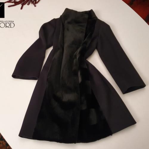 Cappotto cashmere loro piana + visone rasato black